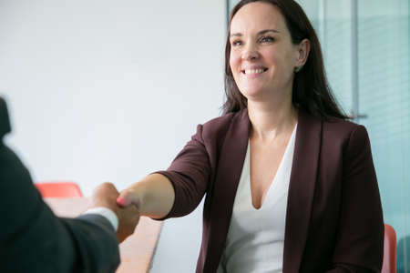 Photo pour Beautiful Caucasian businesswoman handshaking and smiling. Successful brunette long-haired woman in suit sitting and greeting unrecognizable partner. Business, company and teamwork concept - image libre de droit