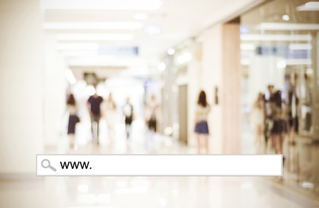 Word www. written on search bar over blur store background, web banner, online shopping background, business, E-commerce