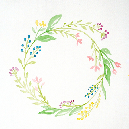 Hand drawing flowers in watercolor style on white paper background, Sketch of flowers wreath with copy space for texting, greeting card