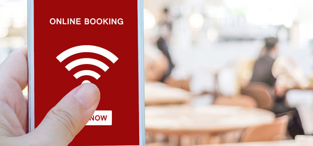 Online booking over blur restaurant background, banner with copy space, food and drink, restauant reservation