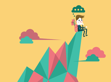 Businessman on the top peak and finding the next target  business target and leadership concept  flat design element vector
