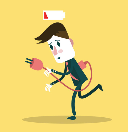 Businessman low energy and needs socket for charging  vector illustration