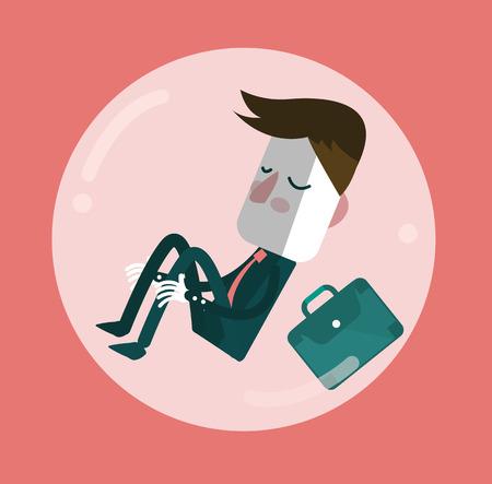 Businessman sleep in comfort zone balloon. Egoism and Comfort zone concept.