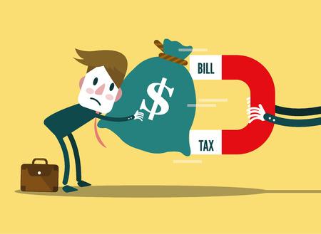 Large Bill, Tax magnet attracts businessman\'s money. flat design. vector illustration