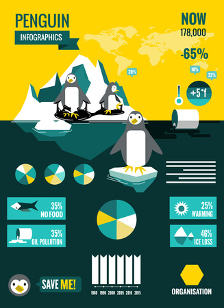 Penguins with polluted ocean and global warming Infographics. flat design element. vector illustration