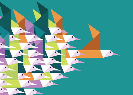 Illustration for Geometric Group of birds. Leadership and Competition concept. Flat vector illustration - Royalty Free Image