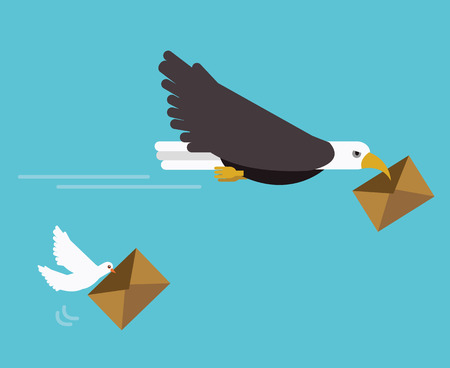 Eagle and dove mail delivery. fast delivery concept. flat vector illustration