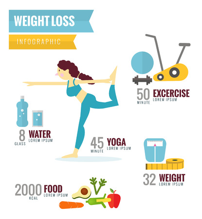 Weight Loss Infographics. flat character and icons design. vector illustration