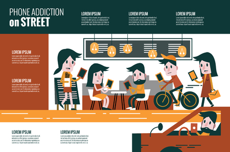 Illustration pour Smartphone addiction on street. flat character and infographic design. illustration - image libre de droit