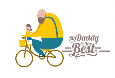 Illustration pour My daddy is the Best. Happy father's day. Father and daughter on bike. flat character design and elements. - image libre de droit
