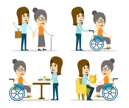 Illustration pour Set of volunteer for elderly care. flat character design. - image libre de droit
