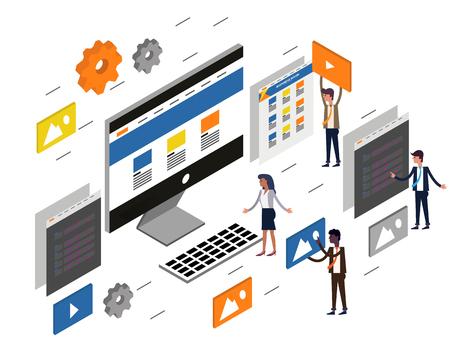 computer desktop UI/UX web design and development concept. Flat 3d isometric Vector illustration.