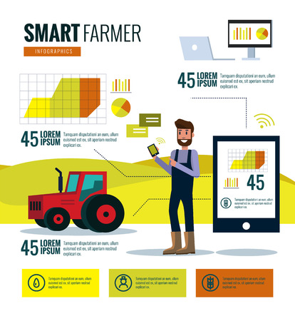 Smart farmer infographics. Farm Data analysis and management concept. flat design elements. vector illustrationのイラスト素材