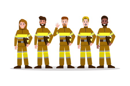 Sets of Firefighting team in yellow uniform. flat Fireman character design. vector illustration