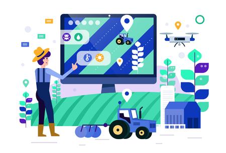 Illustration pour Smart farmer touch computer screen to monitor and control smart farm. future agriculture concept. Flat design elements. Vector illustration - image libre de droit