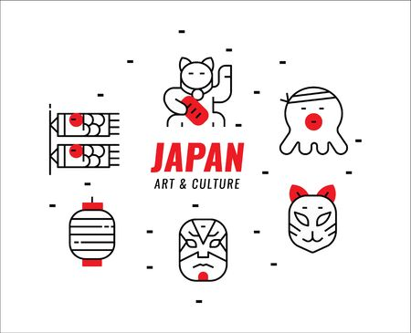 Illustration for Japanese art and culture. Thin line design elements. vector illustration - Royalty Free Image