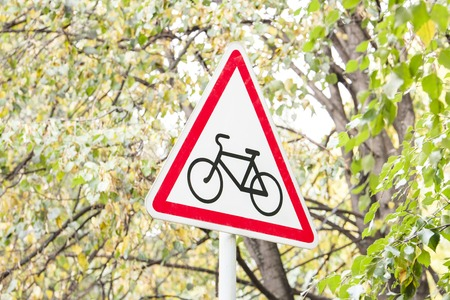 Road sign which shows the bike. The sign stands in the city Park