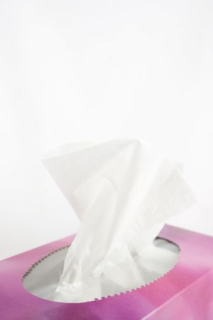 Box of generic tissues on a white background.