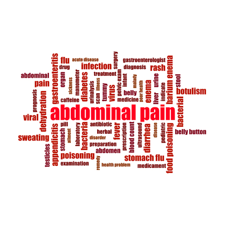 Abdominal pain word cloud collage illustration. Medicine, treatment, cough
