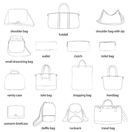 Illustration pour Set of woman bags with names. Black outline, white background. Vector illustration. - image libre de droit