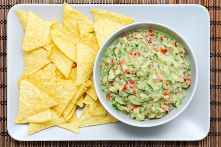 Guacamole and nachos on a rectangular plate and bowl. The plate is placed on a wooden table-top.
