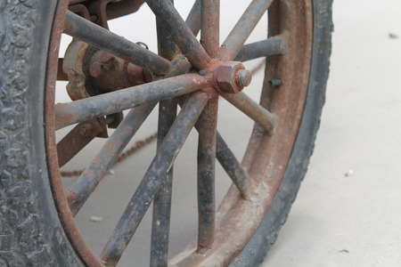 Close up to an old tyre wheel