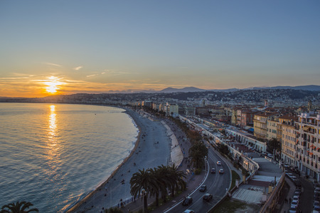 Promenade des anglais in city of Nice in evening