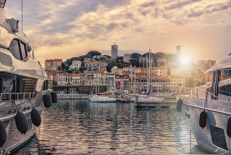 Photo for Cannes viewed from the old harbor - Royalty Free Image