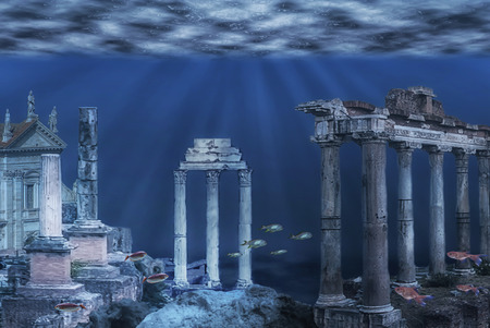 Foto de Illustration of the ruins of the Atlantis civilization. Underwater ruins - Imagen libre de derechos