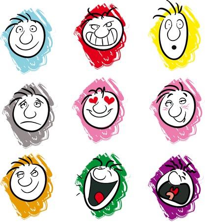 Ilustración de Nine illustrations showing different emotions or moods - Imagen libre de derechos