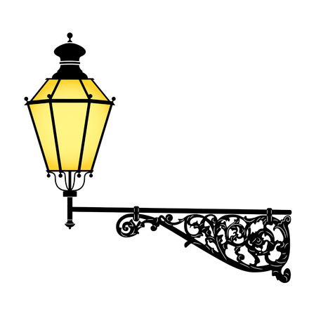 Illustration for Italian forged iron elegant street lamp - Royalty Free Image