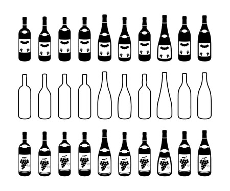 Ten different bottles contour and two different labellingのイラスト素材