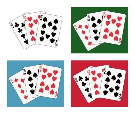 ten tris four different arrangements and backgrounds