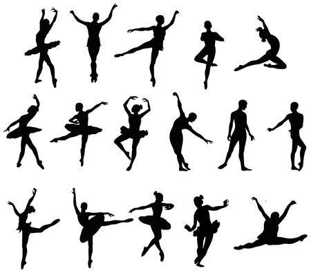 Illustration pour ballet dancer silohuettes set - image libre de droit