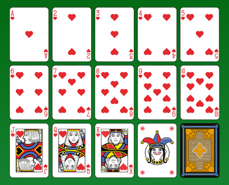 Playing cards, hearts suite, joker and back. Green background.