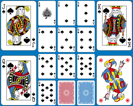 Playing cards spades suite. Original figures double sized and inspired by french tradition.