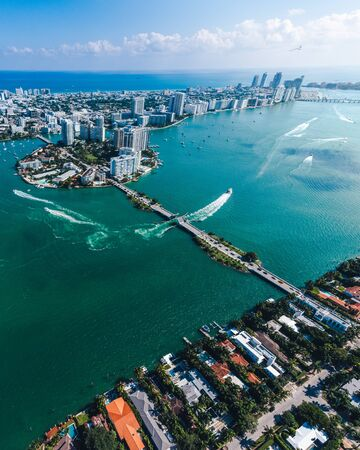 Photo for Aerial view of Miami islands on a sunny day - Royalty Free Image