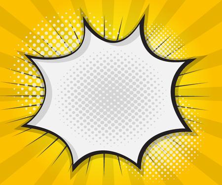 Comic Book Speech Bubble,Pop art Cartoon Yellow Background Vector Illustration