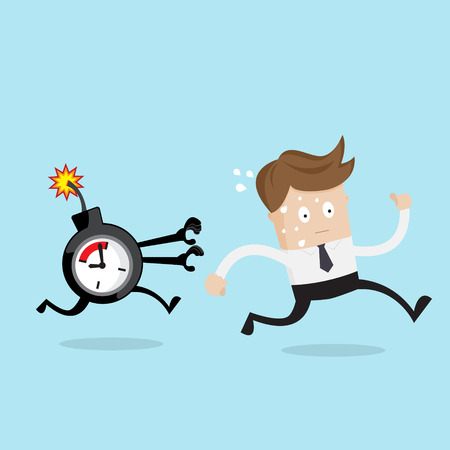 businessman running from time bomb, business concept cartoon vector illustration