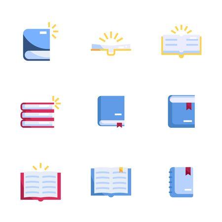 Illustration for book icons set flat design vector illustration - Royalty Free Image