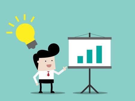 Illustration pour businessman with idea on presentation business concept cartoon vector illustration flat design - image libre de droit
