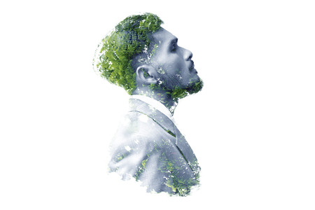 Photo for Double exposure of businessman and tree - Royalty Free Image