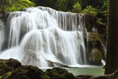 Called Huai Mae Kamin Waterfall, Kanchanaburi is Thailand.