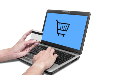 Photo pour E - commerce, isolated one using credit card and laptop to shopping online - image libre de droit