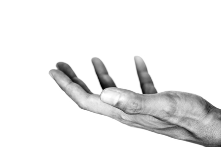 Photo for Black and white opened hand Representing the poor, hungry, hunger, starvation, mercy, donation, help and hope. - Royalty Free Image
