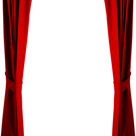 Photo pour Isolated red curtain on white background. - image libre de droit