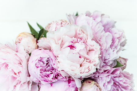 Fresh bunch of pink peonies on light background. Card Concept, top view, copy space for text