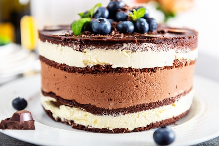 Photo for Belgian Chocolate Layered Gateau. Layers of moist choco sponge, vanilla cream and indulgent dark chocolate mousse glazed with rich dark chocolate sauce and hand decorated with fresh blueberries - Royalty Free Image