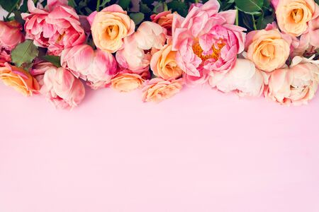 Photo for Fresh bunch of pink peonies and roses on pink background. Card Concept, pastel colors, close up image, copy space - Royalty Free Image