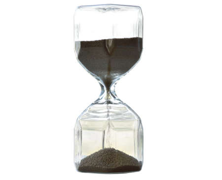 Photo pour Hourglass glass bottle indicating the time on a white background. isolated. Clipping Parts - image libre de droit